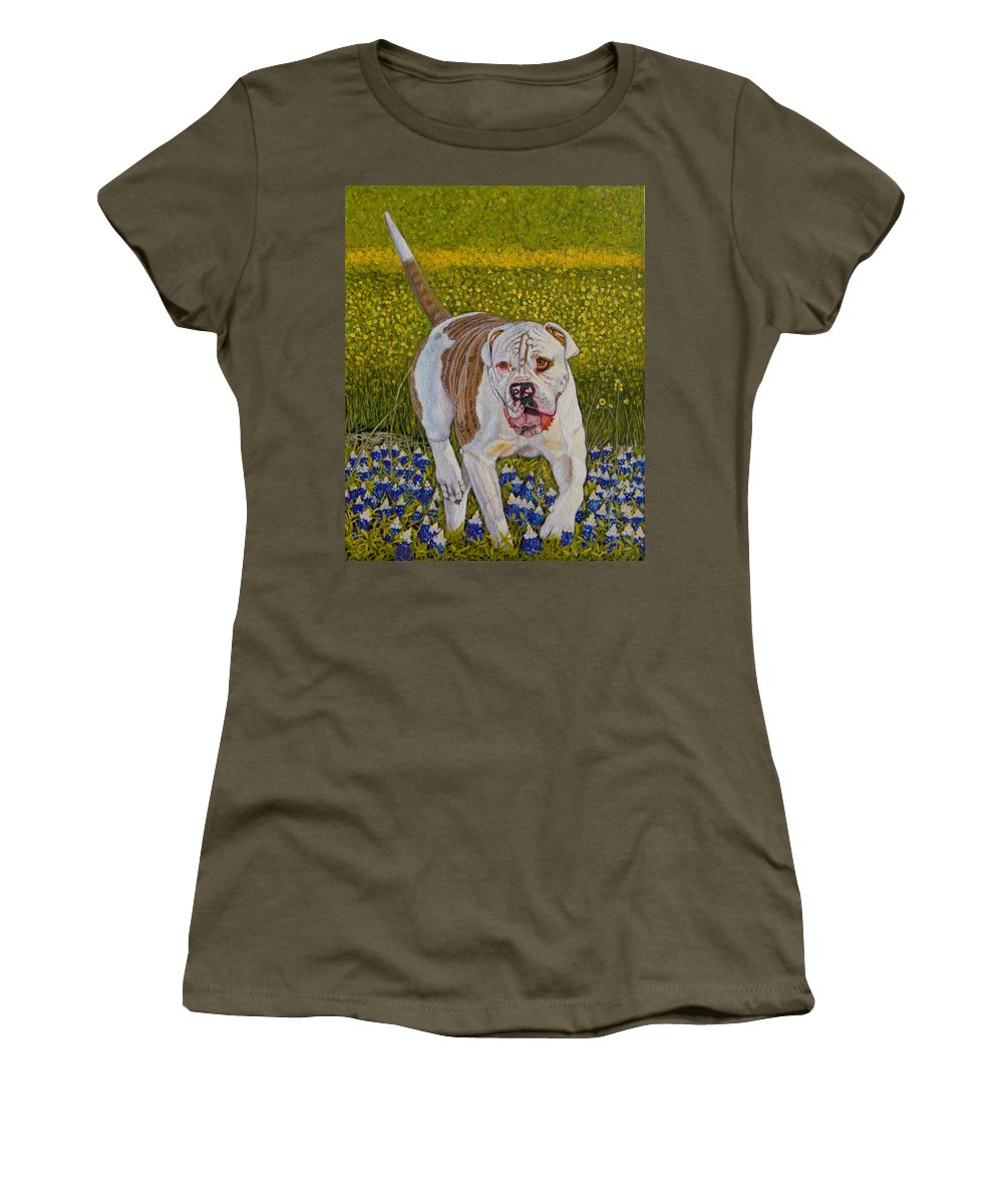 Bulldog Women's T-Shirt featuring the painting American Bulldog Original Oil Painting 10x8in by Manuel Lopez