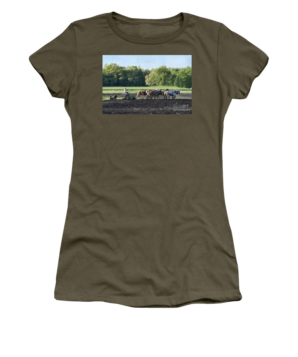 Amish Women's T-Shirt featuring the photograph Amish Plowing Field by David Arment