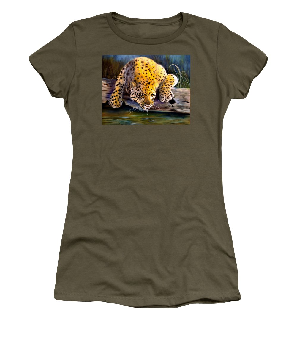 Big Cats Women's T-Shirt featuring the painting Amur Leopard Spotted Something by Pamela Bergen