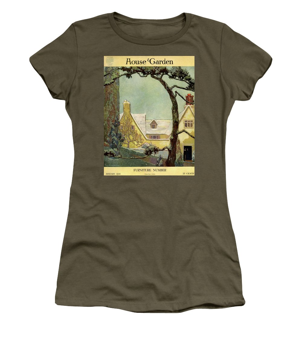 House And Garden Women's T-Shirt featuring the photograph An English Country House by Porter Woodruff