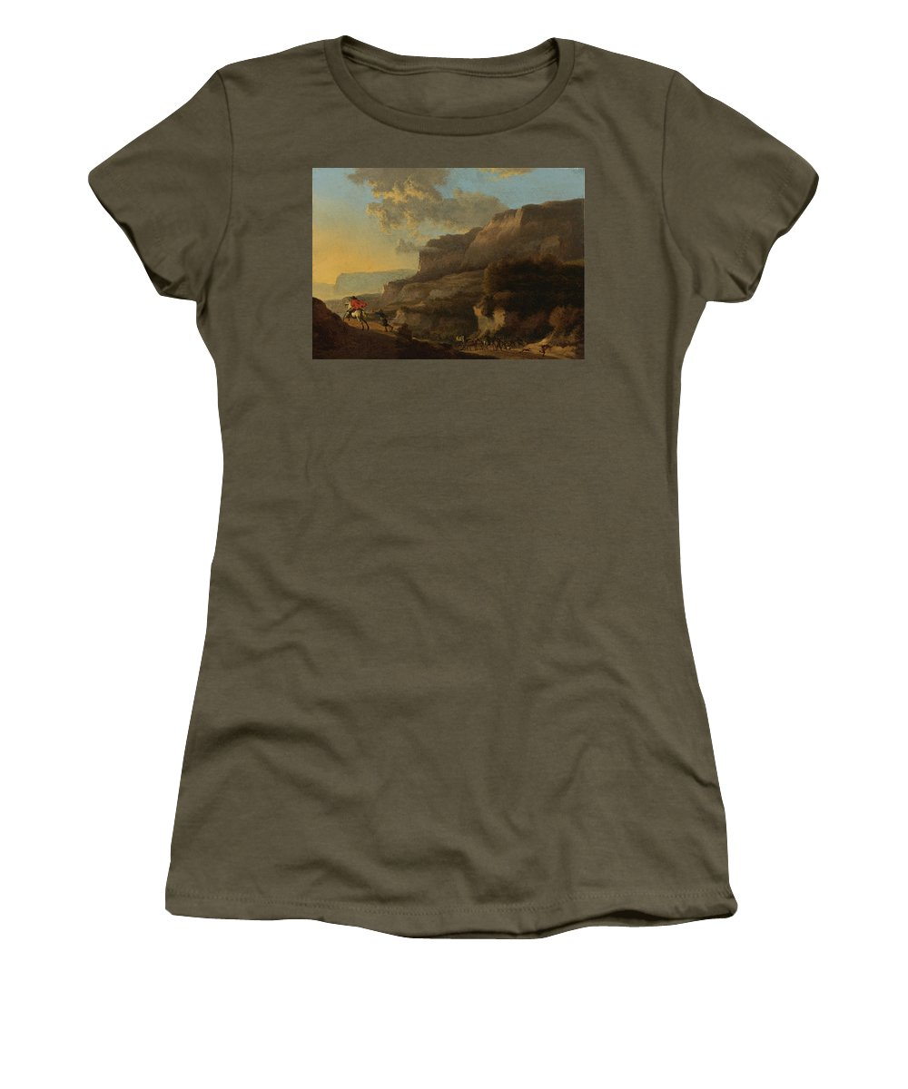 Jan Hackaert Women's T-Shirt featuring the painting An Italianate Landscape With Travellers Ambushed By Bandits by Jan Hackaert
