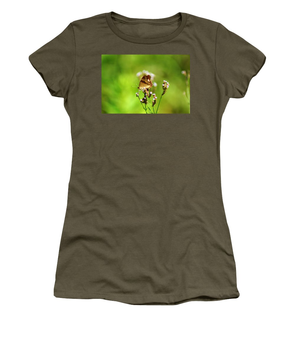 The White Peacock Butterfly Women's T-Shirt (Athletic Fit) featuring the photograph Anartia Jatrophae by Kim Pate