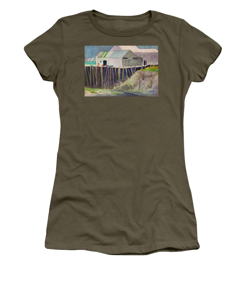 Dock Women's T-Shirt featuring the painting Anchorage Dock 1980s by Teresa Ascone