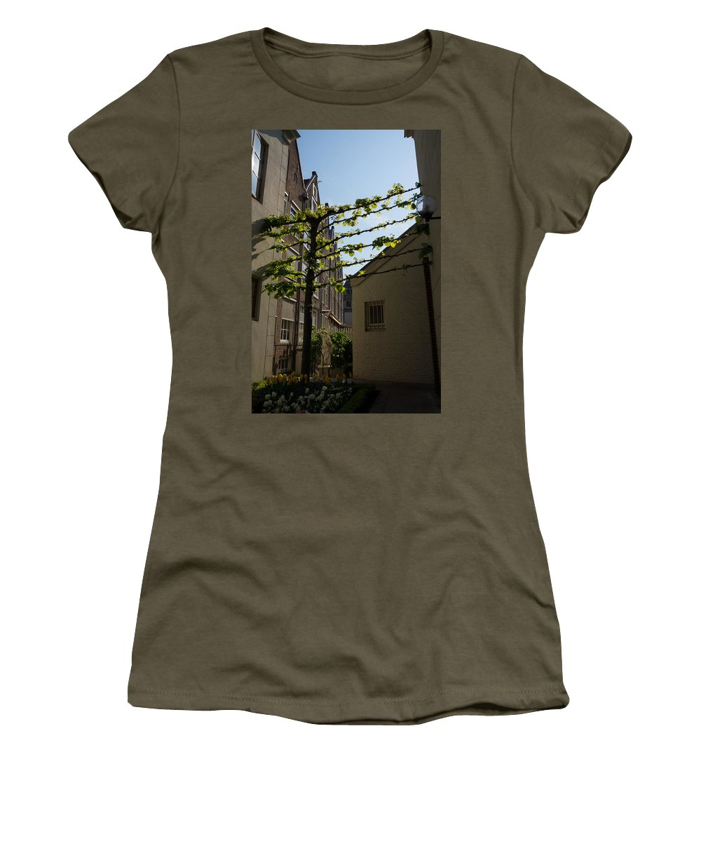 Flower Garden Women's T-Shirt featuring the photograph Any Space Can Be A Garden - Creative Urban Gardening From Amsterdam by Georgia Mizuleva