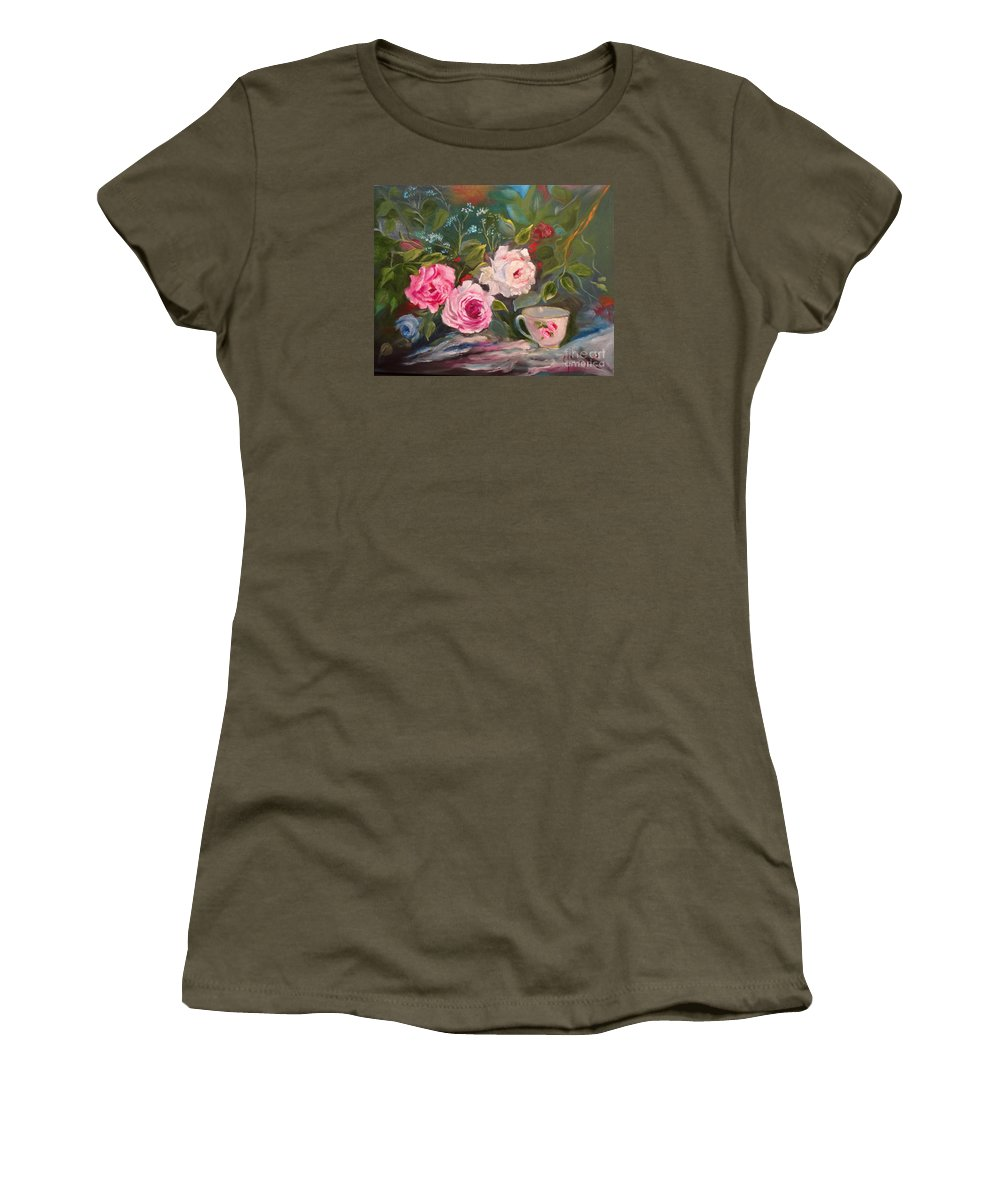 Teacup And Roses Canvas Print Women's T-Shirt featuring the painting Anyone For Tea? by Jenny Lee