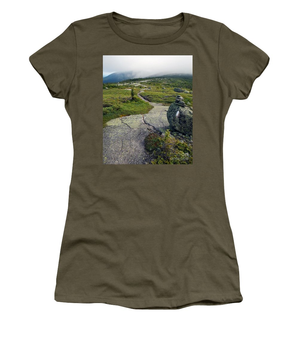 Appalachian Trail Women's T-Shirt featuring the photograph Appalachian Trail Mountain Path Saddleback Maine by Glenn Gordon
