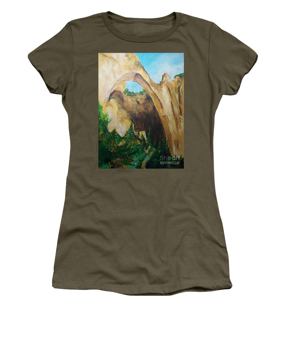 Floral Women's T-Shirt (Athletic Fit) featuring the painting Arch by Eric Schiabor