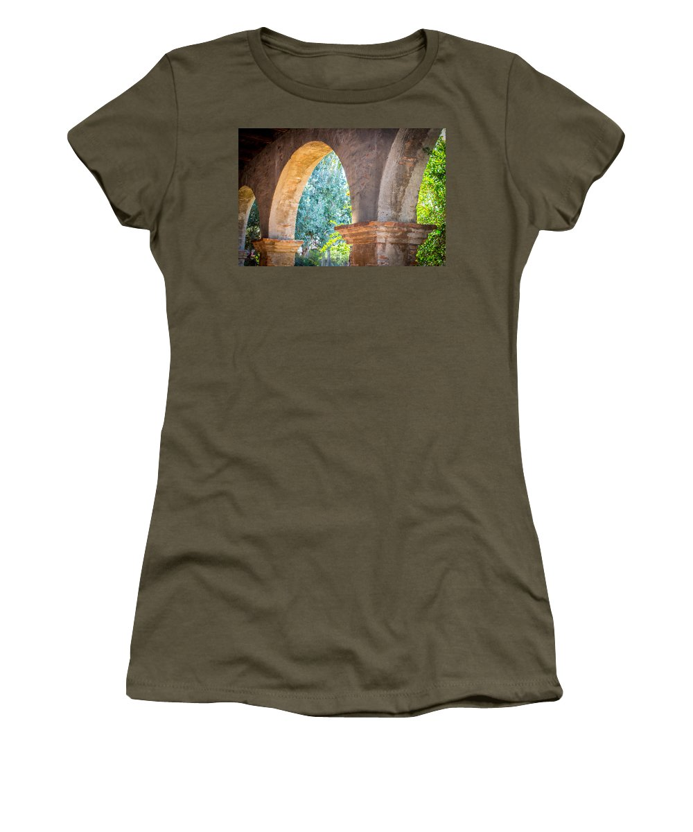 San Juan Capistrano Women's T-Shirt featuring the photograph Arches At Mission San Juan Capistrano by Richard Cheski