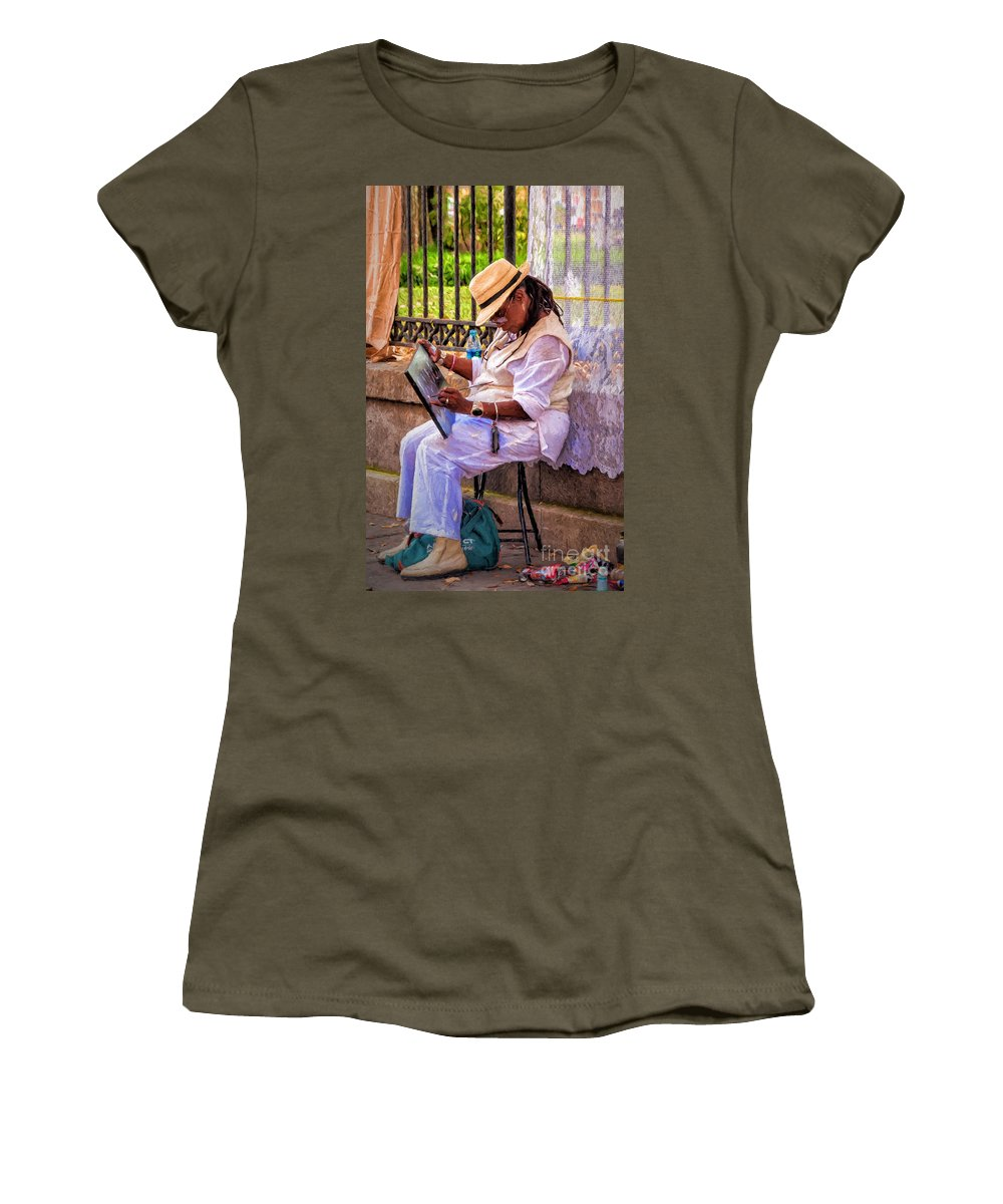 Woman Women's T-Shirt (Athletic Fit) featuring the photograph Artist At Work - Painting by Kathleen K Parker