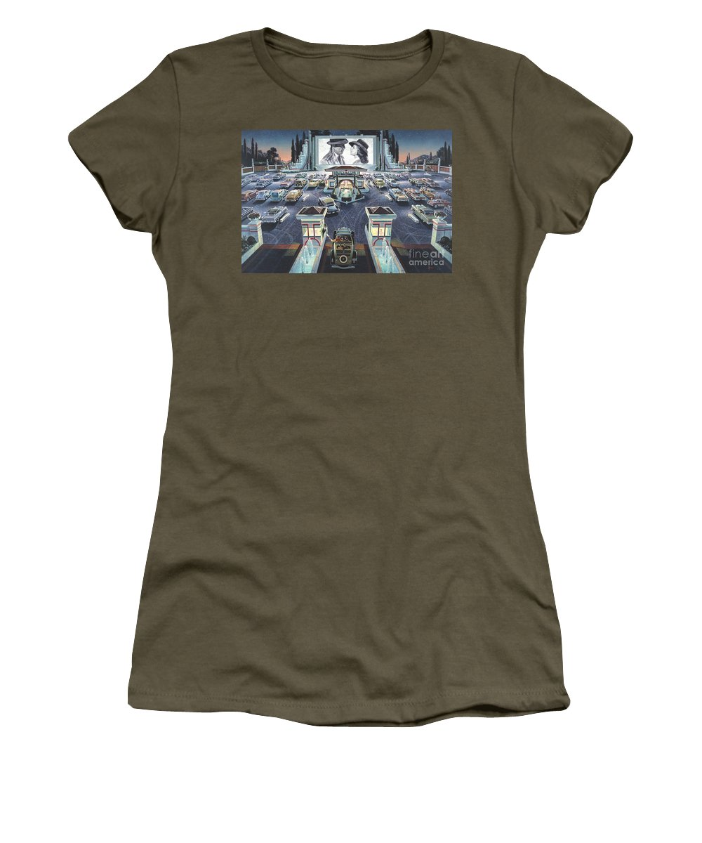 Art Deco Women's T-Shirt featuring the digital art As Time Goes By by MGL Meiklejohn Graphics Licensing