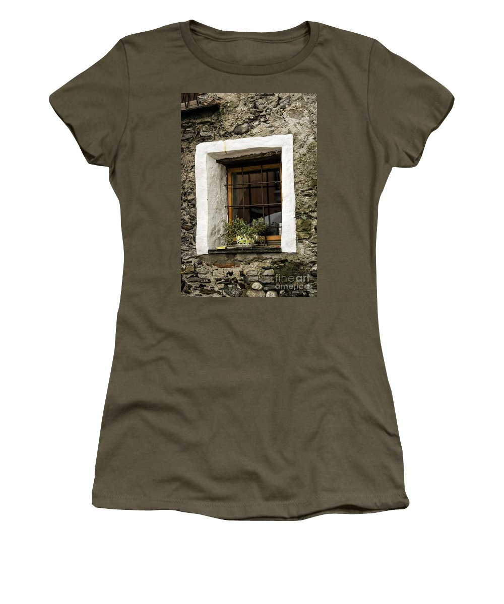 Switzerland Women's T-Shirt featuring the photograph Ascona Window by Timothy Hacker