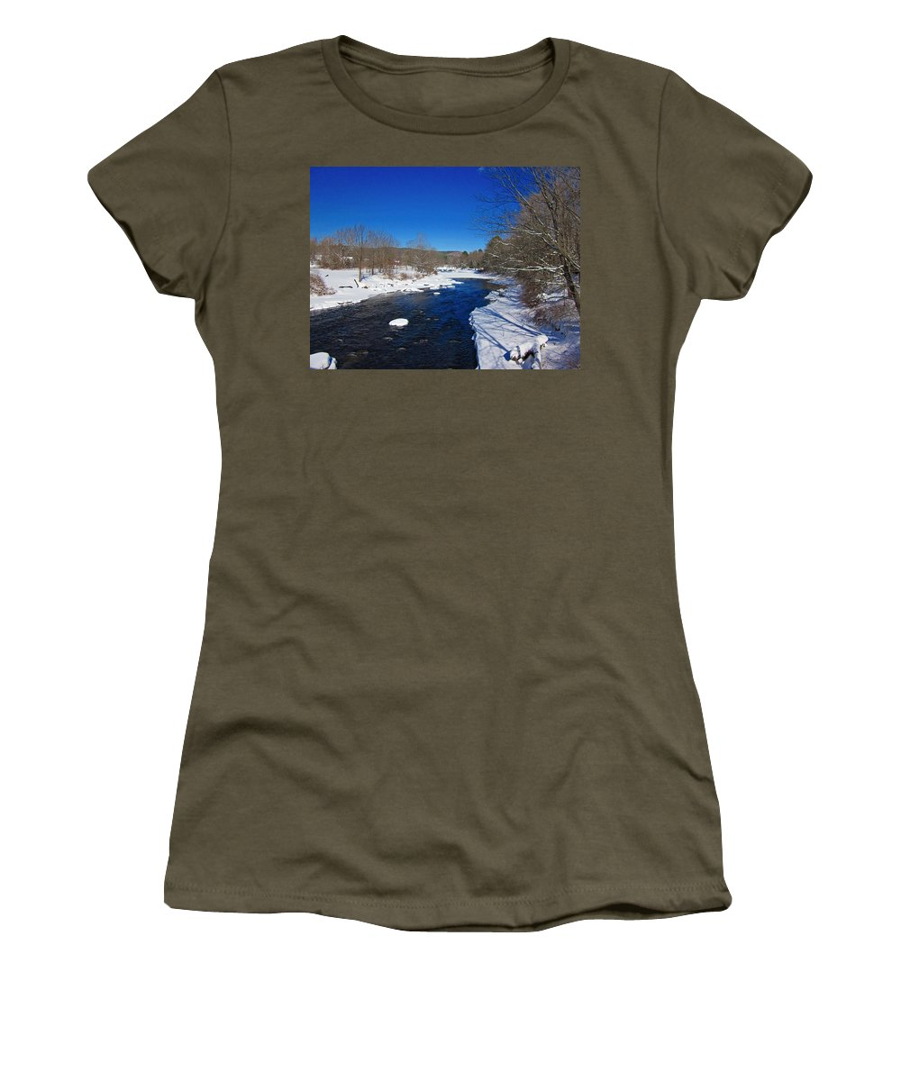 Ashuelot River Women's T-Shirt featuring the photograph Ashuelot River In Winter by MTBobbins Photography