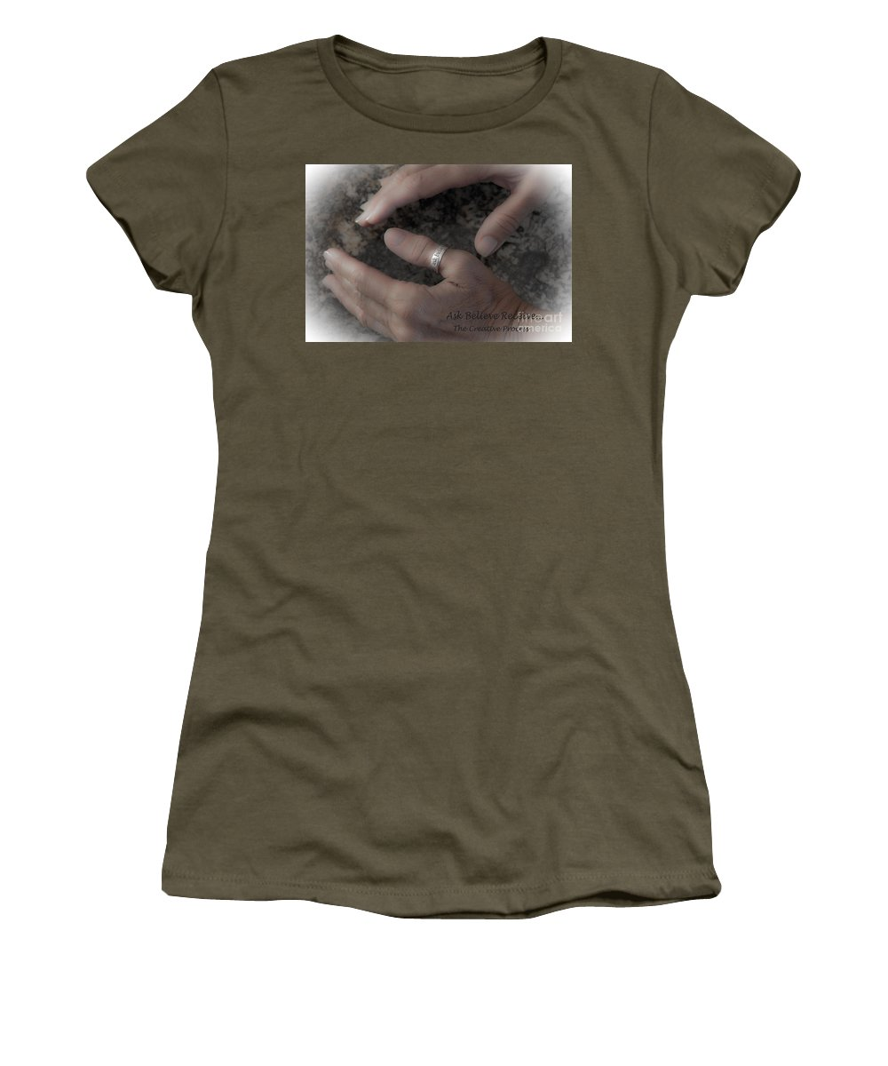 Ask Women's T-Shirt featuring the photograph Ask Believe Receive by Bob Hislop