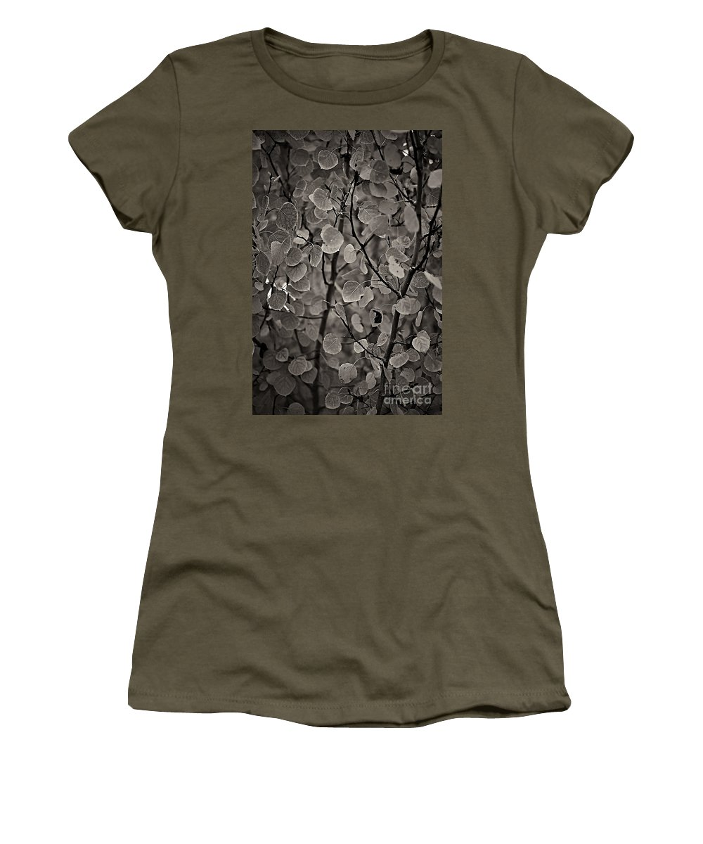 Aspen Women's T-Shirt featuring the photograph Aspen Leaves by Charles Muhle
