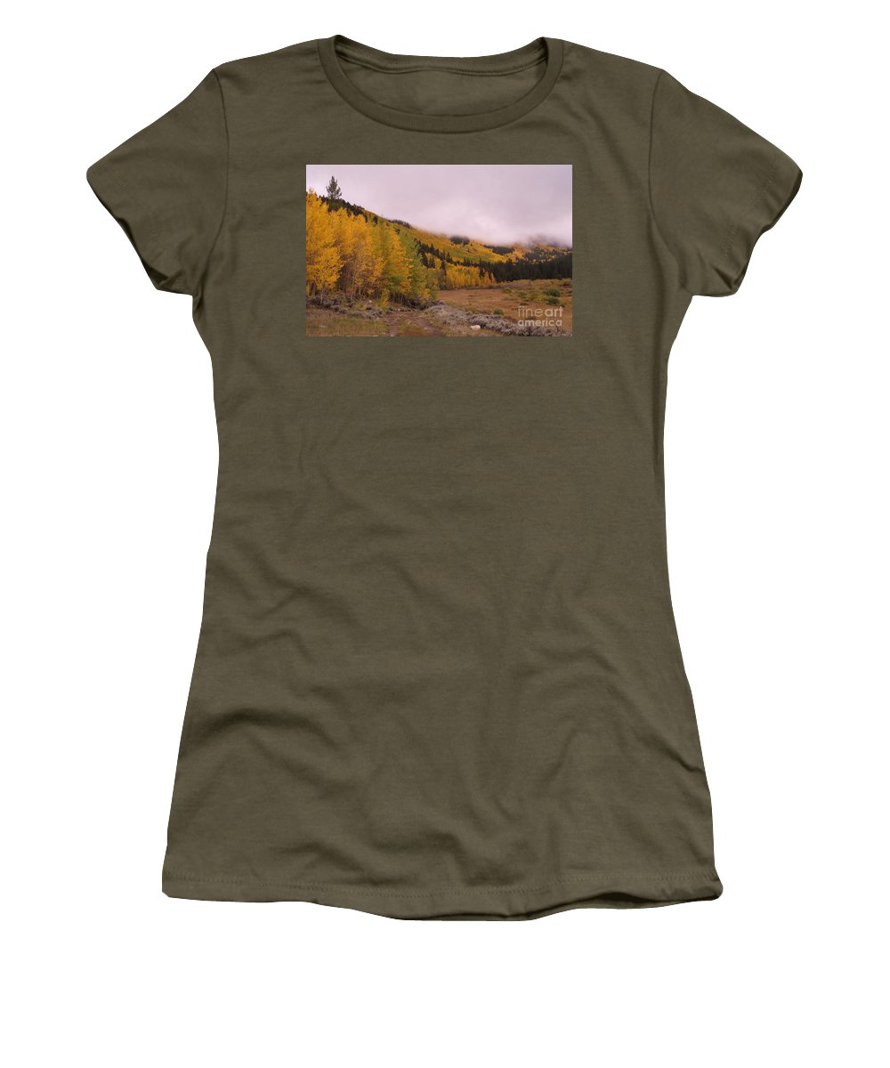 Aspens Women's T-Shirt featuring the photograph Aspens In The Mist by Tonya Hance
