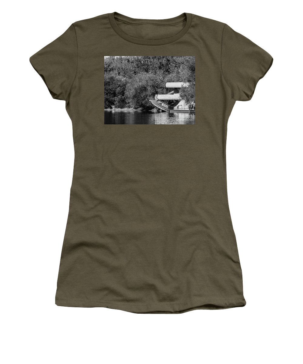 Black And White Women's T-Shirt featuring the photograph At The Lake-35 by David Fabian