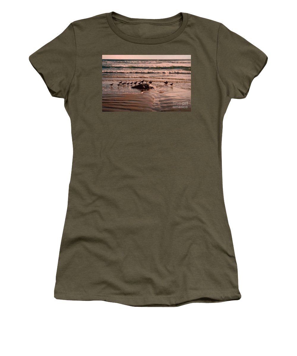 Sea Gulls Women's T-Shirt (Athletic Fit) featuring the photograph Audience by Andrea Goodrich