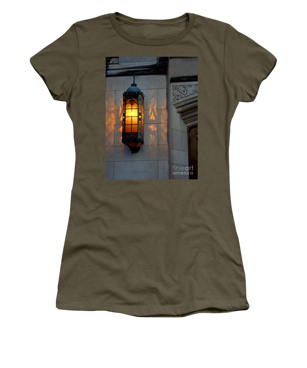 Copper Lamp Women's T-Shirt (Athletic Fit) featuring the photograph Auditorium by Joseph Yarbrough