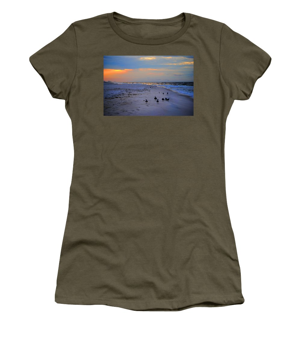 Palm Women's T-Shirt featuring the digital art August Beach Morning With The Sea Gulls by Michael Thomas