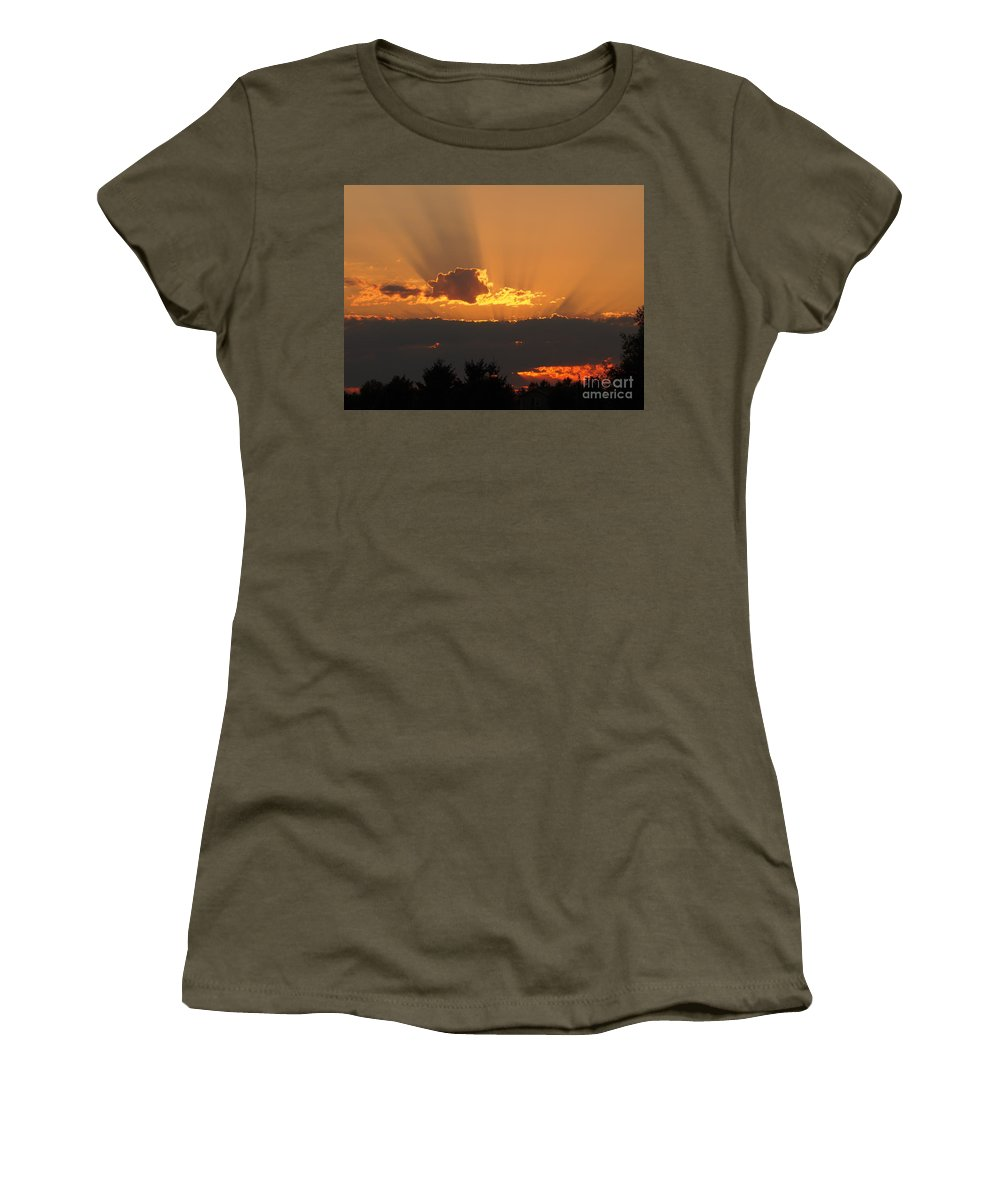 August Women's T-Shirt featuring the photograph August Sunset by Jacklyn Duryea Fraizer