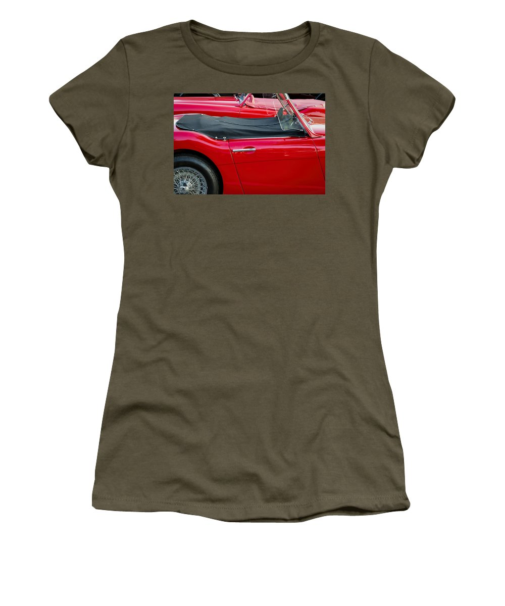 Auto Women's T-Shirt featuring the photograph Austin Healey Red by David Stone