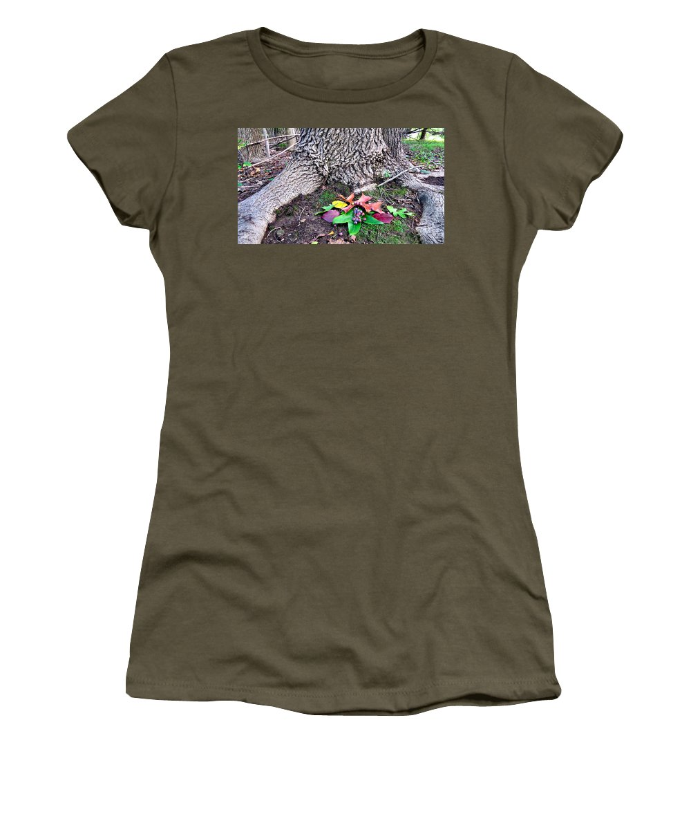 Forest Women's T-Shirt featuring the photograph Autumn Equinox Offerings by Art Dingo