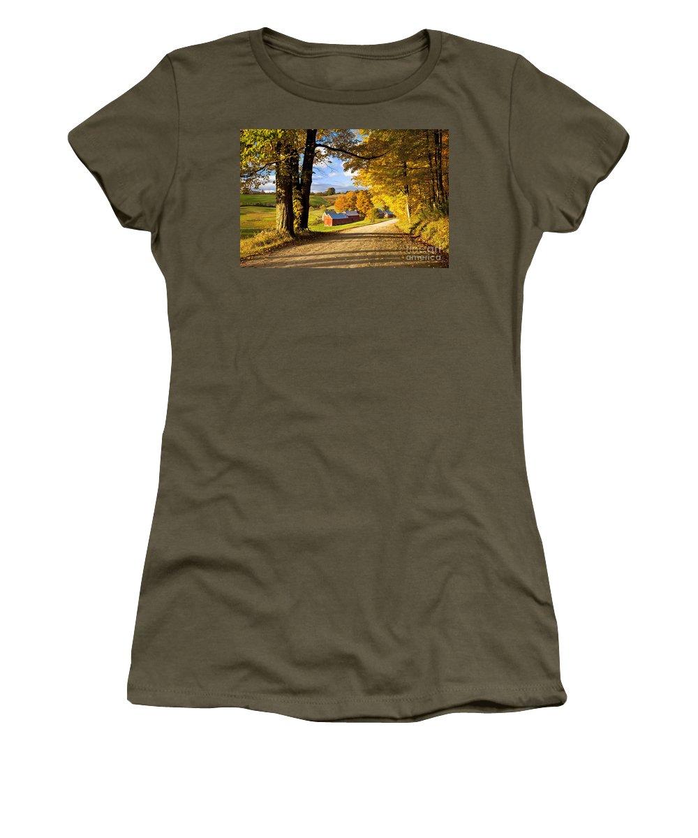 Autumn Women's T-Shirt featuring the photograph Autumn Farm In Vermont by Brian Jannsen