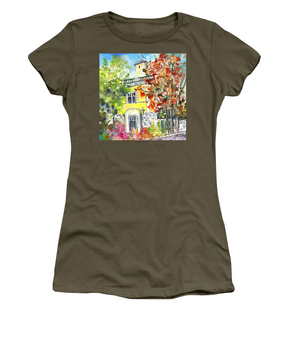 Travel Women's T-Shirt featuring the painting Autumn In Bergamo 02 by Miki De Goodaboom