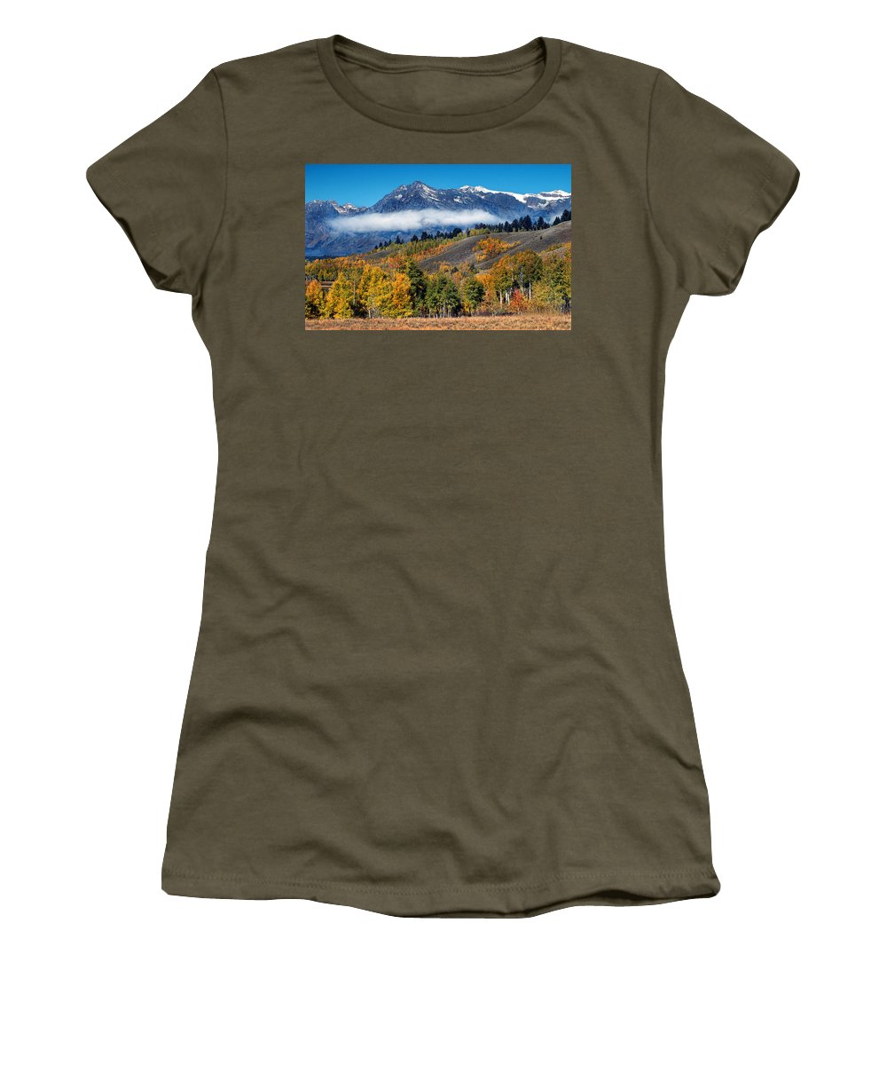 Grand Tetons National Park Women's T-Shirt featuring the photograph Autumn In The Tetons by Dave Mills