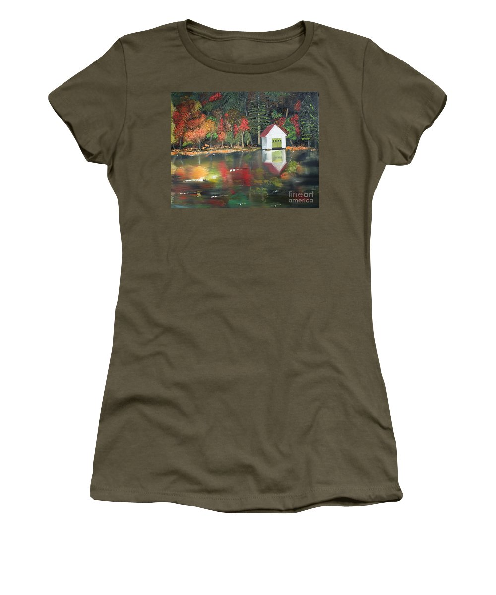 Happy Little Trees Women's T-Shirt featuring the painting Autumn - Lake - Reflecton by Jan Dappen