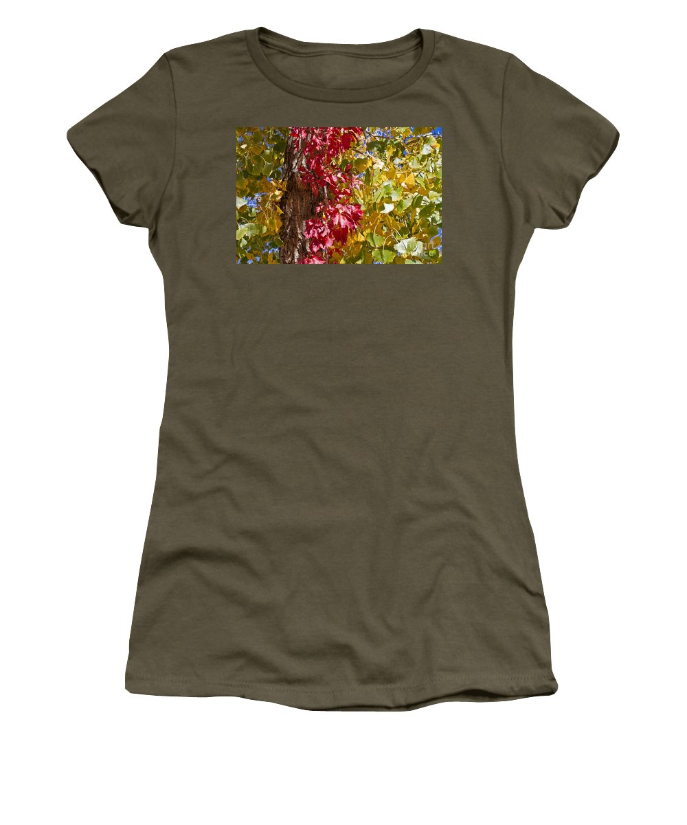 Texas Women's T-Shirt (Athletic Fit) featuring the photograph Autumn Leaves In Palo Duro Canyon 110213.97 by Ashley M Conger