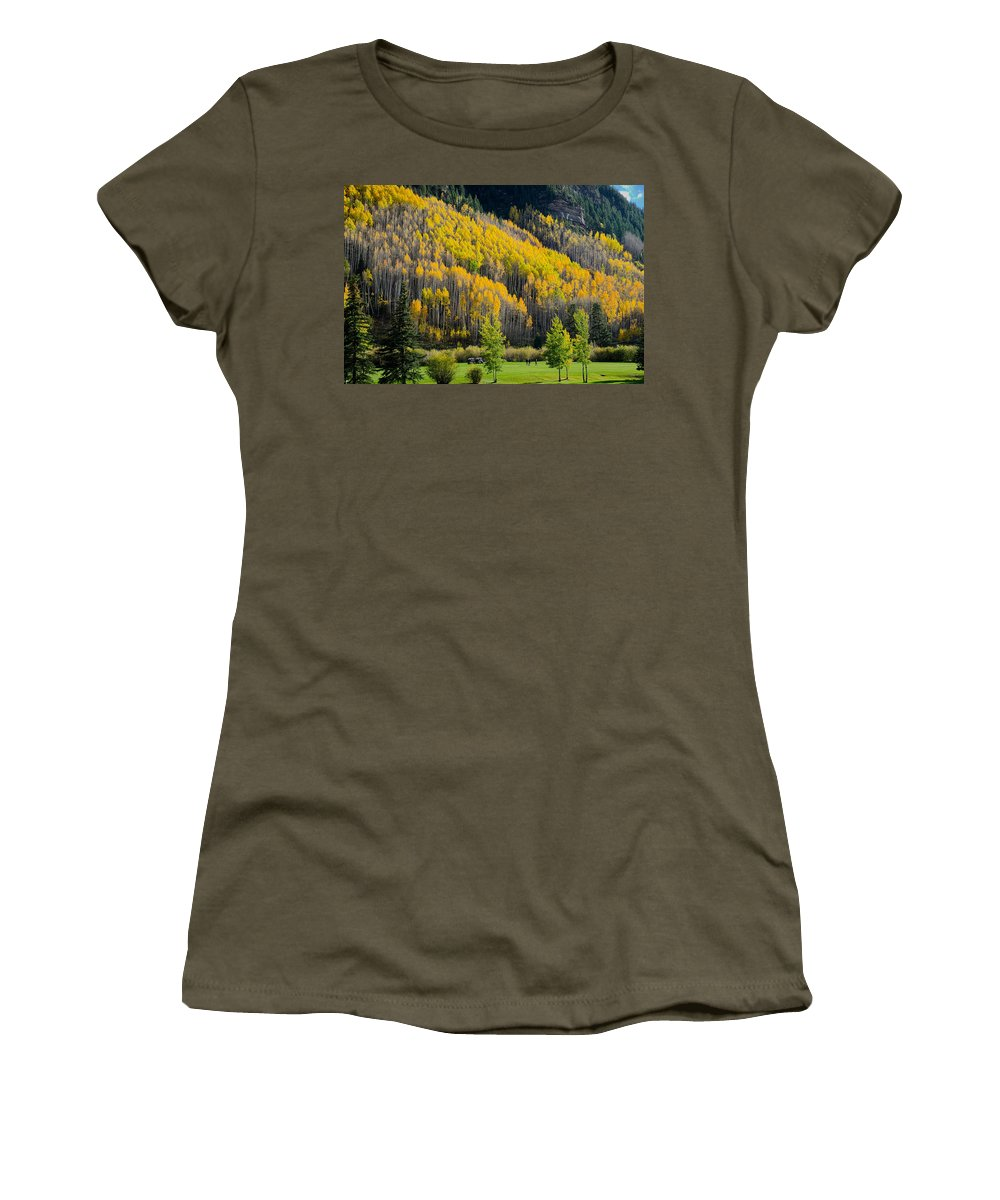 Autumn Women's T-Shirt (Athletic Fit) featuring the photograph Autumn On The Links by John McArthur