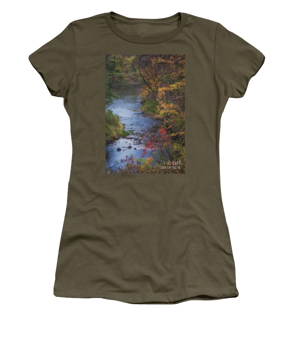 Michele Women's T-Shirt featuring the photograph Autumn Stream by Michele Steffey