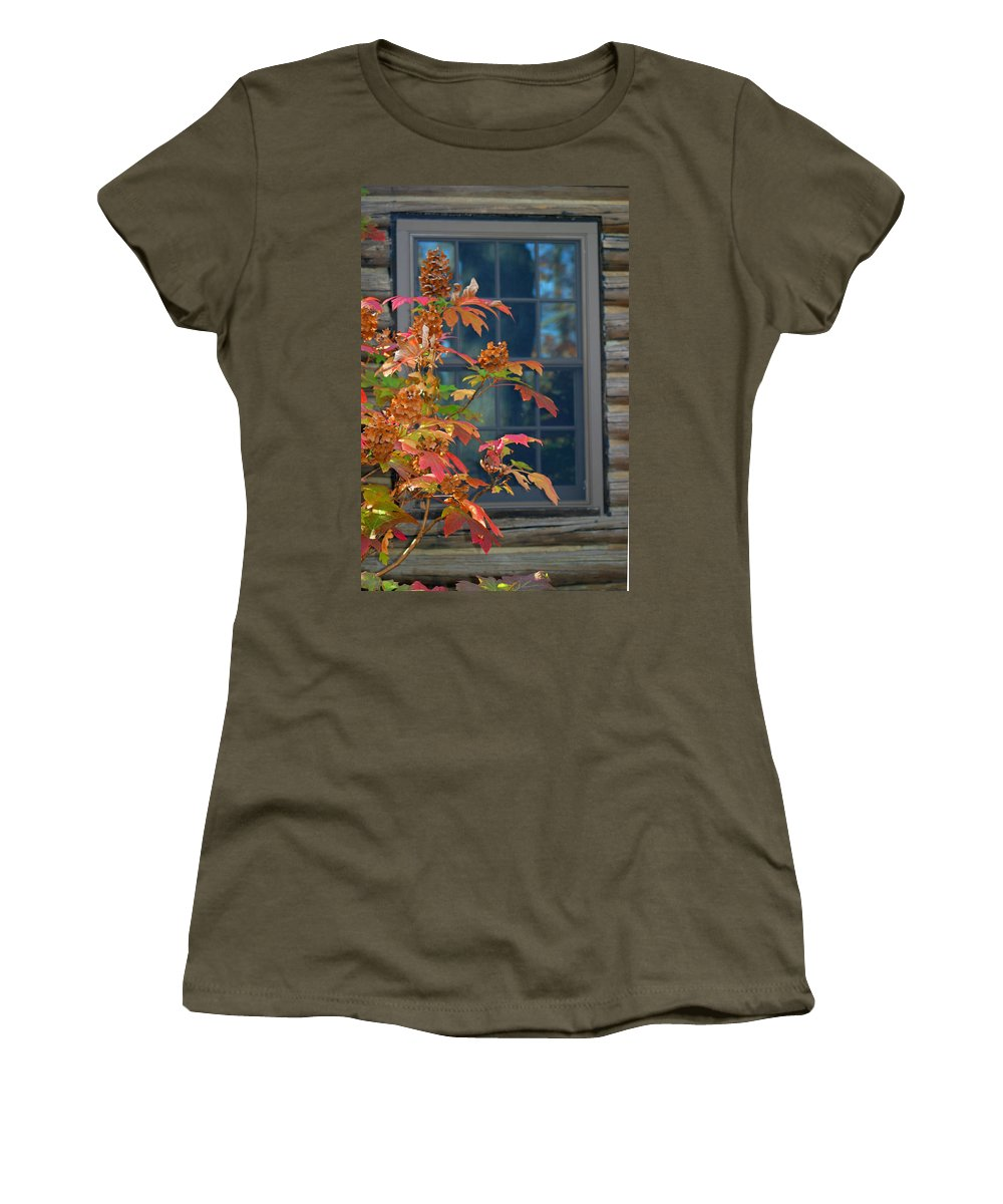 Window Women's T-Shirt featuring the photograph Autumn Window by Living Color Photography Lorraine Lynch