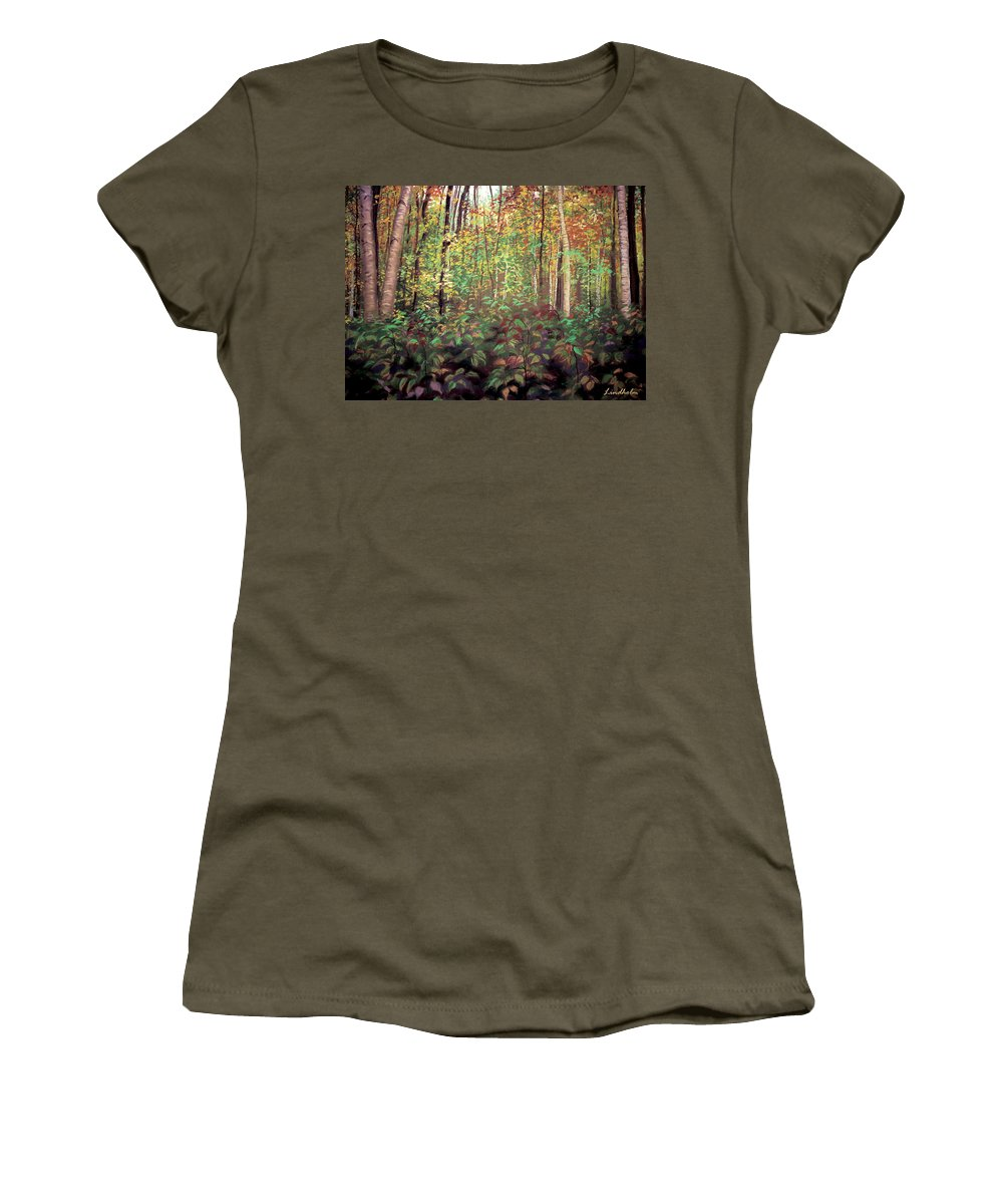 Autumn Women's T-Shirt featuring the pastel Autumn Woods by BizzyBzzz