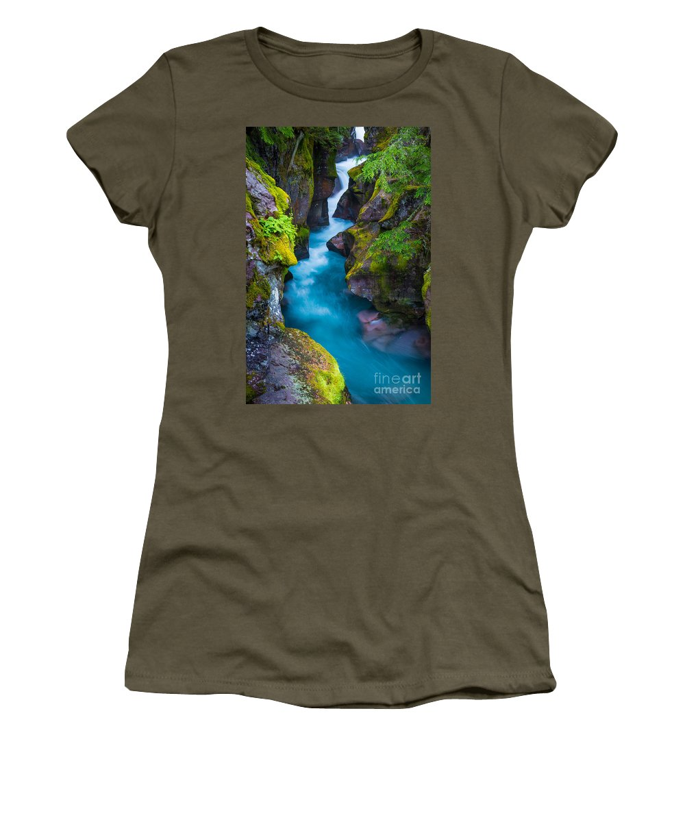America Women's T-Shirt featuring the photograph Avalanche Creek by Inge Johnsson