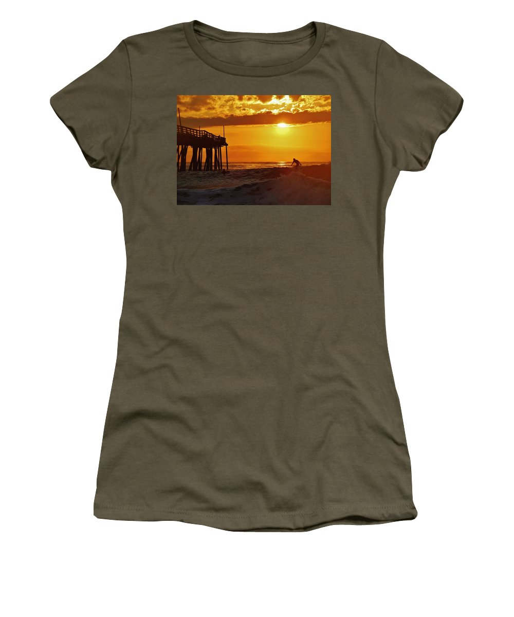 Mark Lemmon Cape Hatteras Nc The Outer Banks Photographer Subjects From Sunrise Women's T-Shirt featuring the photograph Avon Pier Sunrise Surfer 2 9/08 by Mark Lemmon