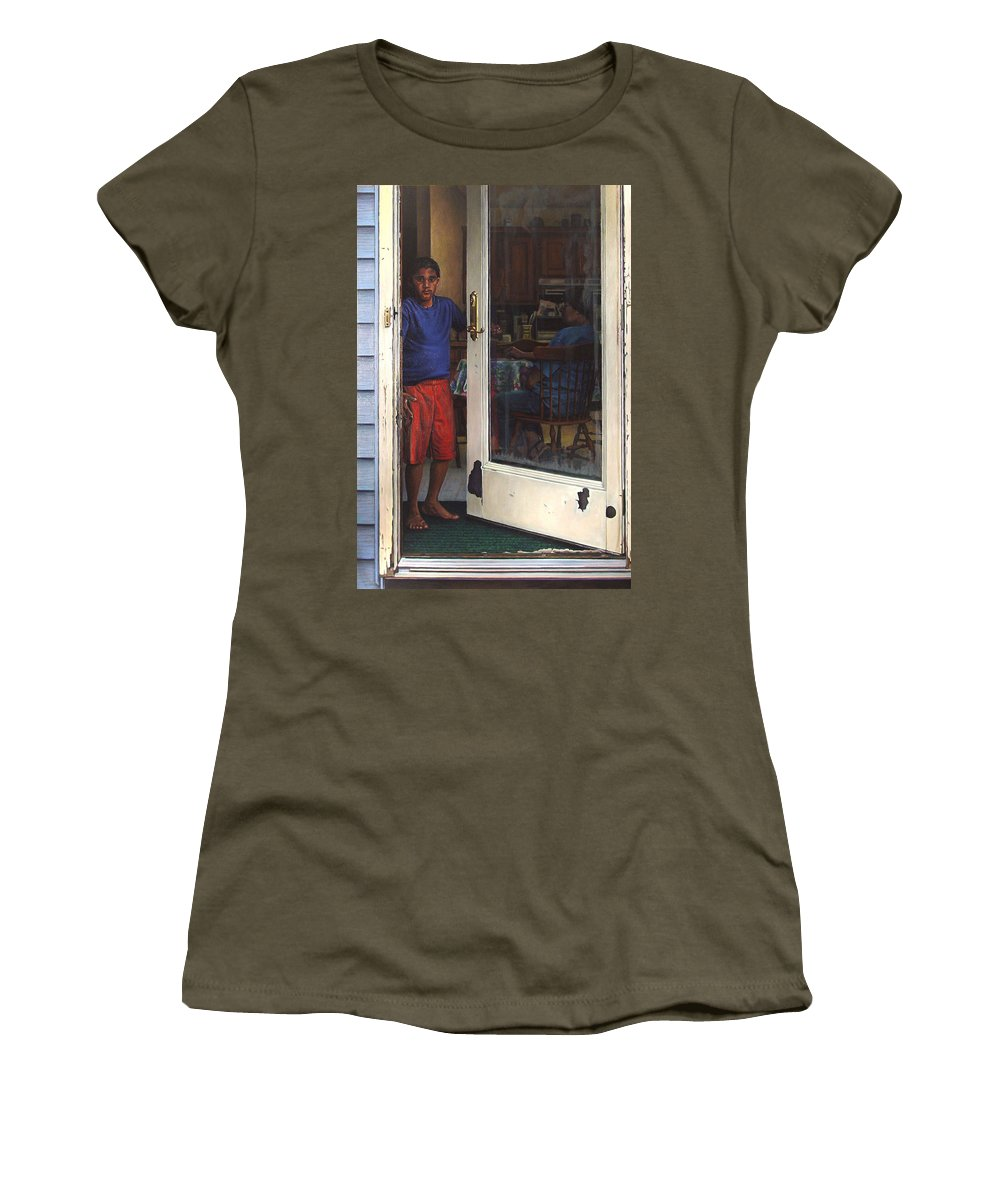 Portrait Women's T-Shirt featuring the painting Awakening by Kenneth Cobb
