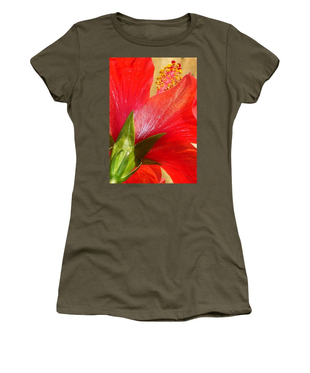 Hibiscus Women's T-Shirt featuring the photograph Back View Of A Beautiful Bright Red Hibiscus Flower by Taiche Acrylic Art