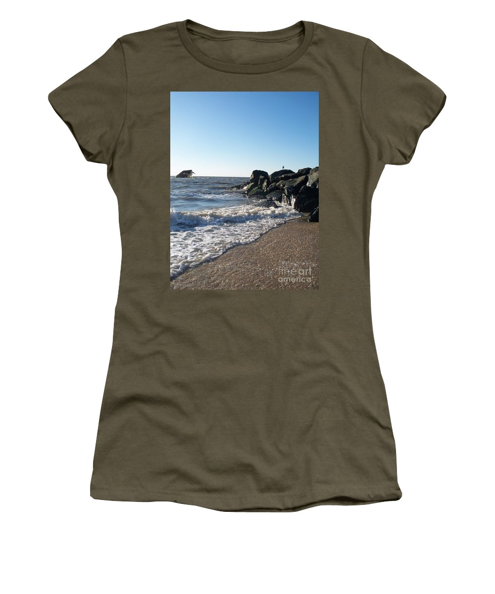 Backwash Women's T-Shirt featuring the painting Backwash On Sunset Beach Cape May by Eric Schiabor