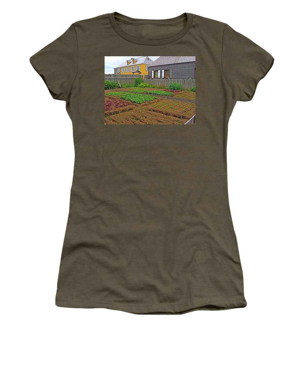 Backyard Garden In Louisbourg Living History Museum Women's T-Shirt featuring the photograph Backyard Garden In Louisbourg Living History Museum-1744-ns by Ruth Hager