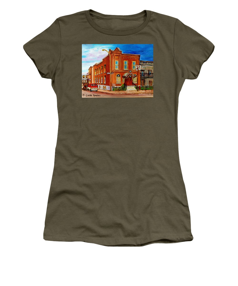 Montreal Women's T-Shirt featuring the painting Bagg And Clark Street Synagogue by Carole Spandau
