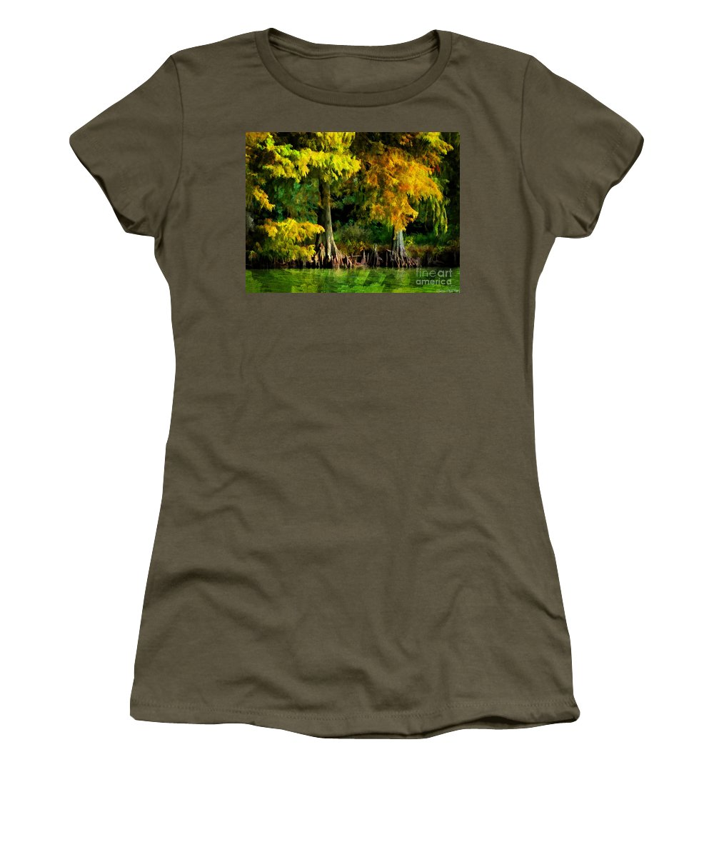 Cypress Women's T-Shirt featuring the photograph Bald Cypress 2 - Digital Effect by Debbie Portwood