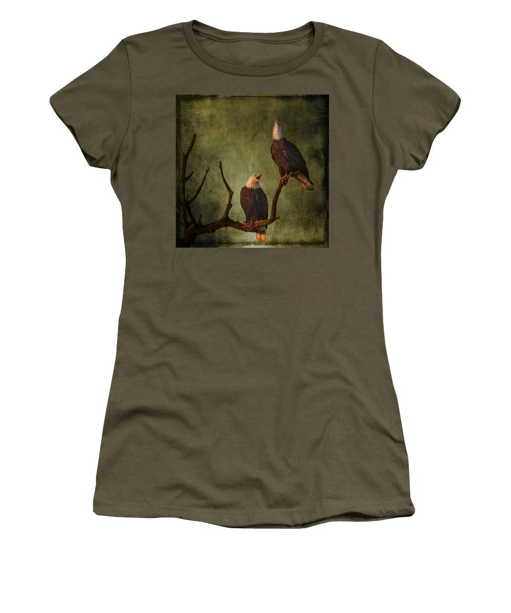 Bald Eagle Serenade Women's T-Shirt featuring the photograph Bald Eagle Serenade by Wes and Dotty Weber