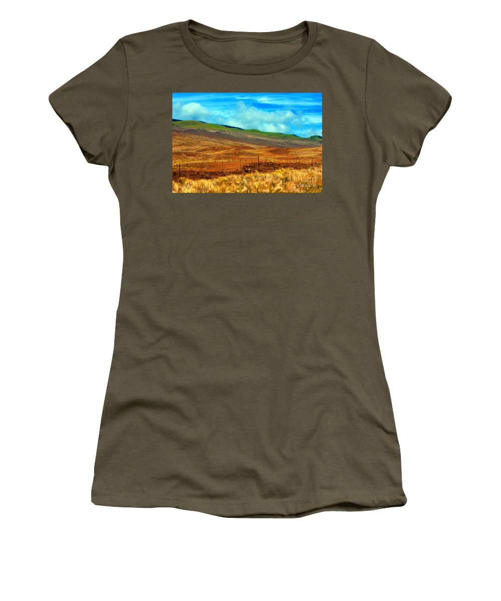 Barbed Wire Women's T-Shirt (Athletic Fit) featuring the photograph Barbed Wire Fence by Paulette B Wright