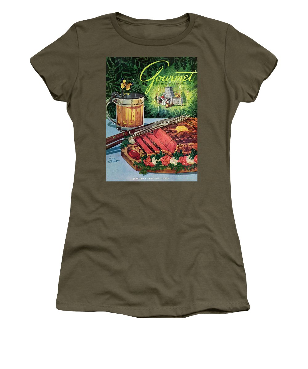 Food Women's T-Shirt featuring the photograph Barbeque Meat And A Mug Of Beer by Henry Stahlhut