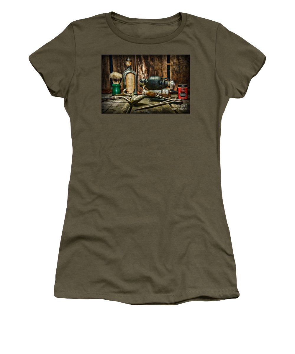 Paul Ward Women's T-Shirt featuring the photograph Barber - Scalp And Neck Massager by Paul Ward