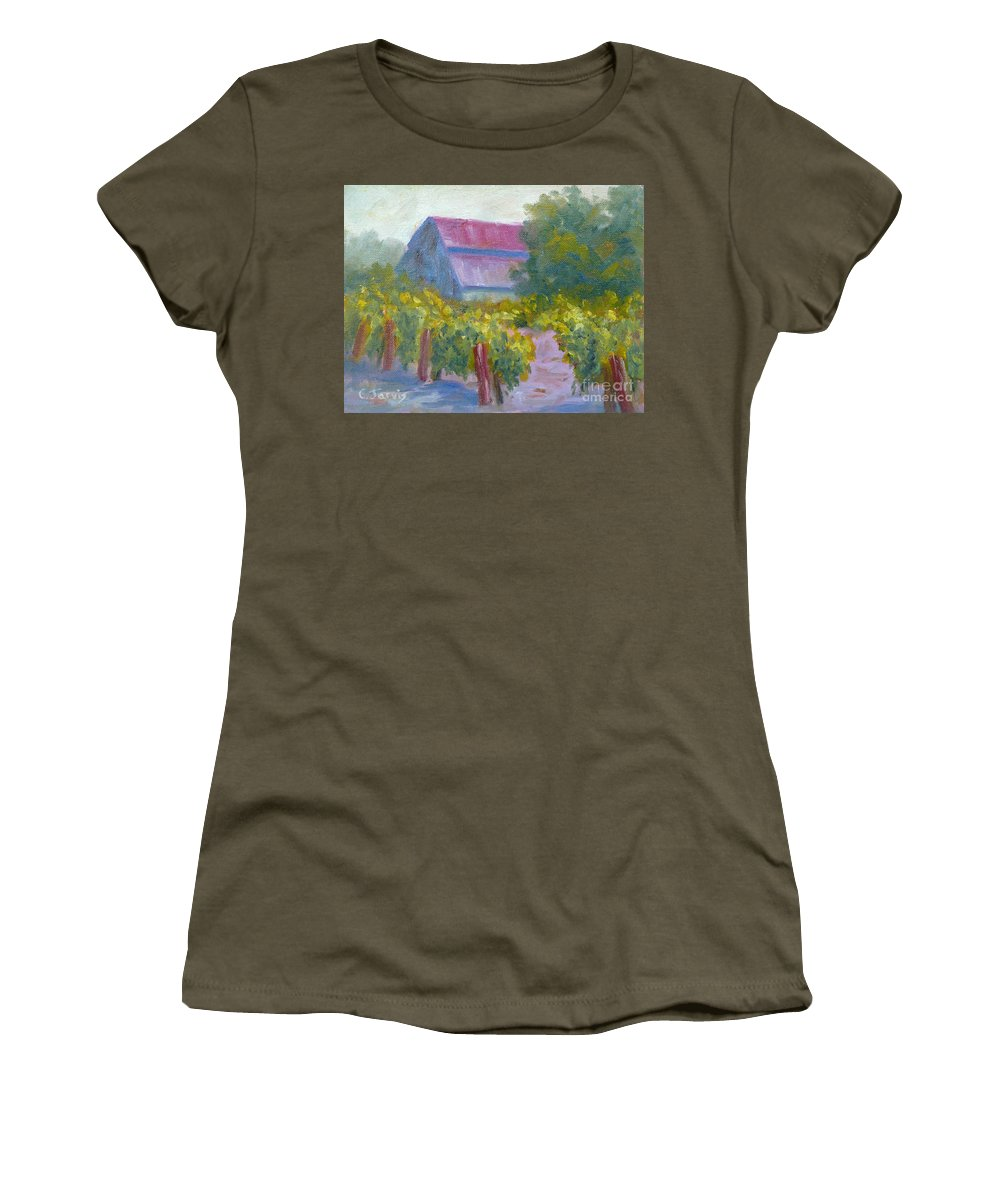 Winery Women's T-Shirt featuring the painting Barn In Vineyard by Carolyn Jarvis