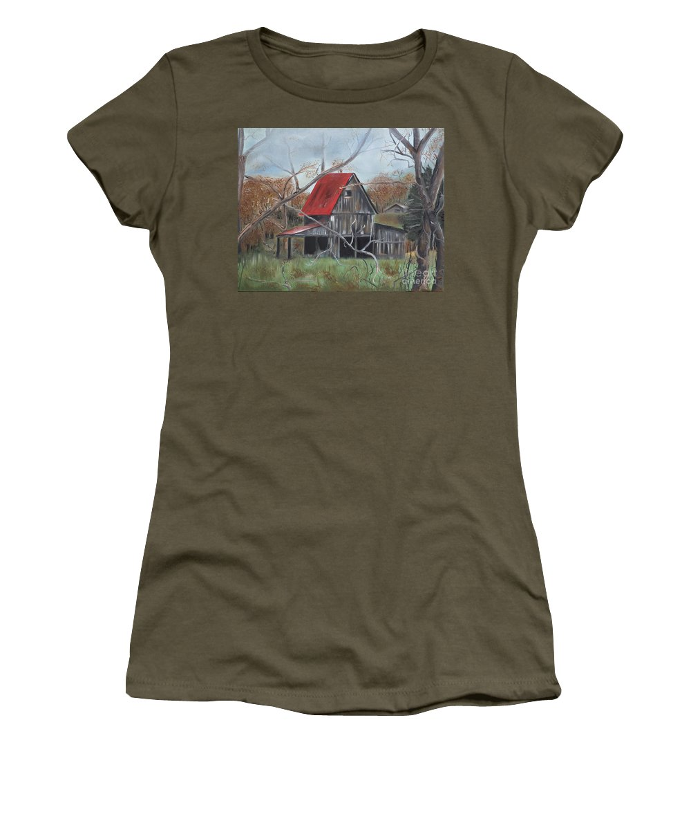 Barn Women's T-Shirt featuring the painting Barn - Red Roof - Autumn by Jan Dappen