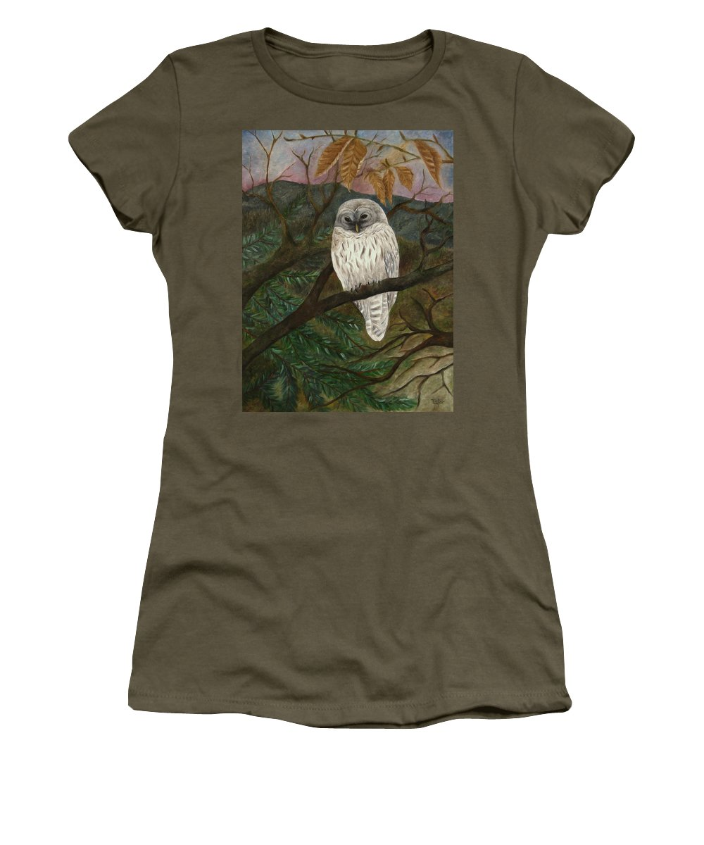 Barred Owl Women's T-Shirt featuring the painting Barred Owl by FT McKinstry